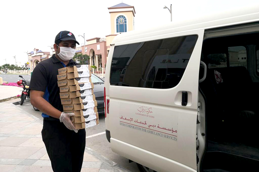 Domino's Pizza thanks Dubai Ambulance with free pizza