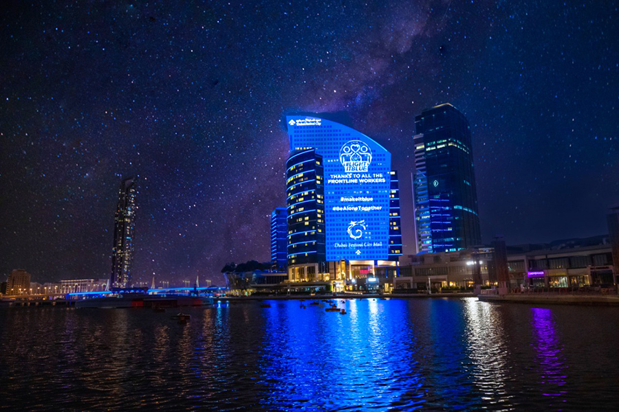 Dubai Festival City honours front liners with #LightItBlue initiative